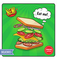 sandwich advertising poster in comic style vector image vector image