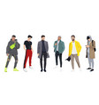 set men dressed in stylish trendy clothes vector image