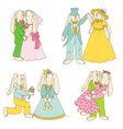 Set of Bunny Dolls - in Love Wedding vector image vector image