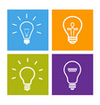 set of electric light bulb icons - idea sign vector image