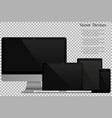 set of realistic computer monitors laptops vector image vector image
