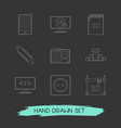 set of tech icons line style symbols with computer vector image vector image