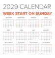 simple 2029 year calendar vector image vector image