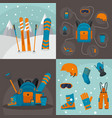 snowboarding kit banner concept set flat style vector image vector image