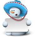 snowman in a sombrero with white background vector image