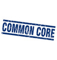 square grunge blue common core stamp vector image vector image