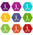 stationery scissors icon set color hexahedron vector image vector image