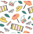 summer seamless pattern with beach and travel vector image
