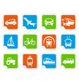 transport icons on stickers vector image vector image
