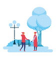 two men in the park winter scenery vector image