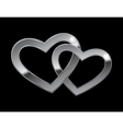 two metal hearts vector image vector image