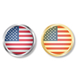 Usa flag button with silver and gold vector image