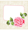 watercolor rose with floral ornamental background vector image vector image