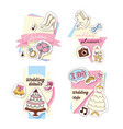 wedding stickers set cards vector image vector image