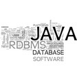 why java rdbms text word cloud concept vector image vector image