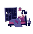 woman with insomnia modern hand drawn flat vector image