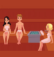 young people relaxing in wooden steam sauna vector image