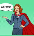 pop art smiling super businesswoman in red cape vector image