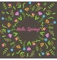 Colorful cute floral set with leaves and flowers vector image