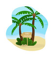 beach landscape palm trees with a wooden pointer vector image