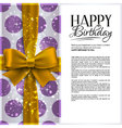 birthday card with yellow ribbon and birthd vector image