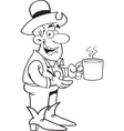 Black and white of a cowboy with a cu vector image vector image