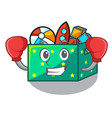 boxing character wooden box of kids toys vector image vector image