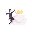 bride and groom dancing couple newlyweds at vector image vector image