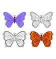 butterflies contour and colorful vector image