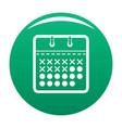 calendar plan icon green vector image vector image