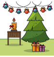 christmas in home cartoon vector image