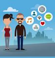 couple social media urban background vector image