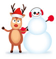 cute and funny christmas card character deer and vector image