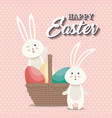 cute rabbit happy easter card vector image