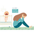 depressed young woman with cute baby postpartum vector image vector image