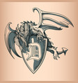 dragon with shield and letter d hand drawing image vector image vector image