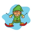 Elf playing ski on winter Christmas vector image