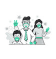 family with face masks virus protection concept vector image