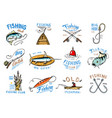 fishing logo fishery logotype with vector image