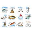 fishing logo fishery logotype with vector image vector image