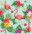 flamingo pattern exotic birds and plants vector image vector image