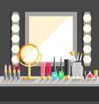 flat makeup workers workplace mirror decorative vector image vector image