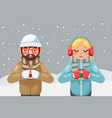 friends geek hipster couple winter hot drink tea vector image