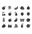 fruit berry food black silhouette icon set vector image