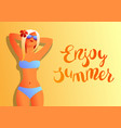 girl in bikini on beach vector image vector image
