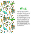 hand drawn surfing and diving decoration hawaii vector image vector image