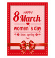 happy holiday gift card on 8 march for women vector image vector image