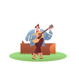 happy woman playing guitar outdoor isolated vector image