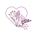 heart with beautiful flowers vector image