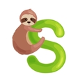 letter s with sloth animal for kids abc education vector image